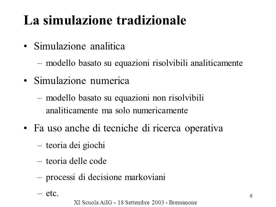 La simulazione tradizionale