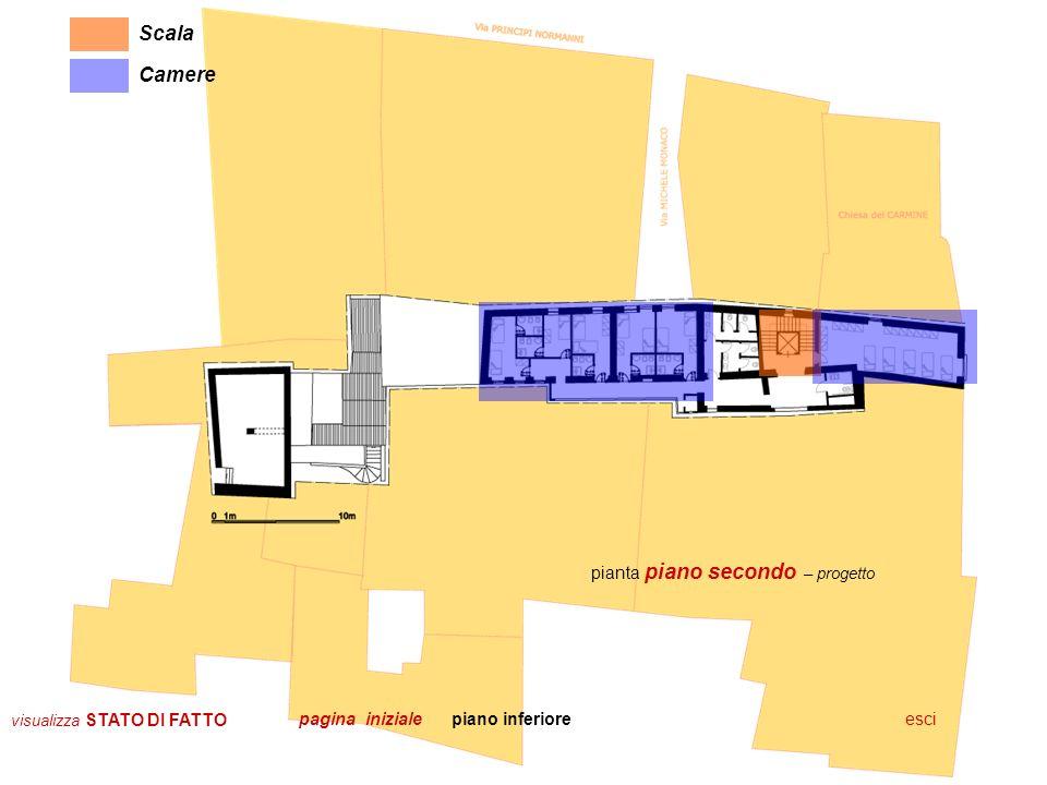 Scala Camere pianta piano secondo – progetto pagina iniziale