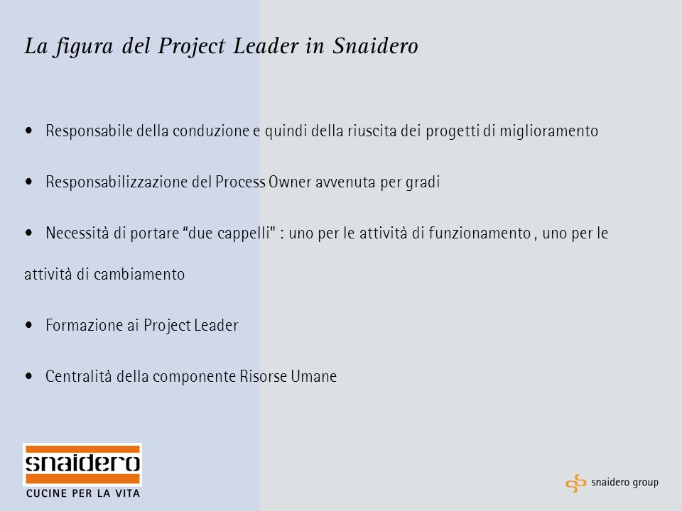 La figura del Project Leader in Snaidero