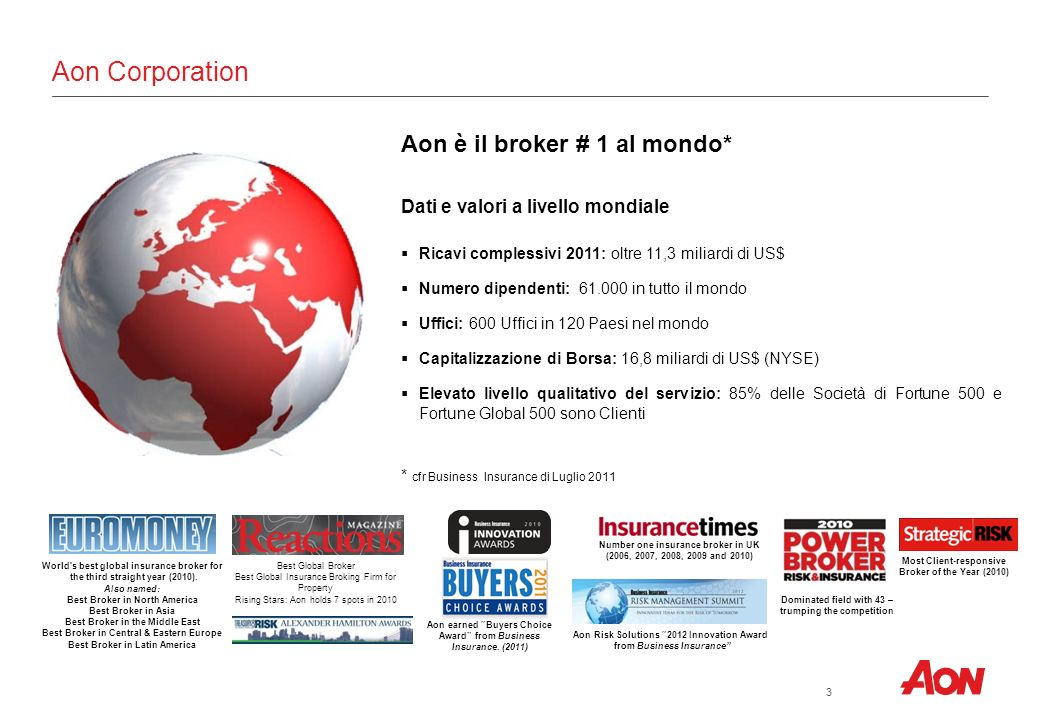 Aon Corporation Aon è il broker # 1 al mondo*