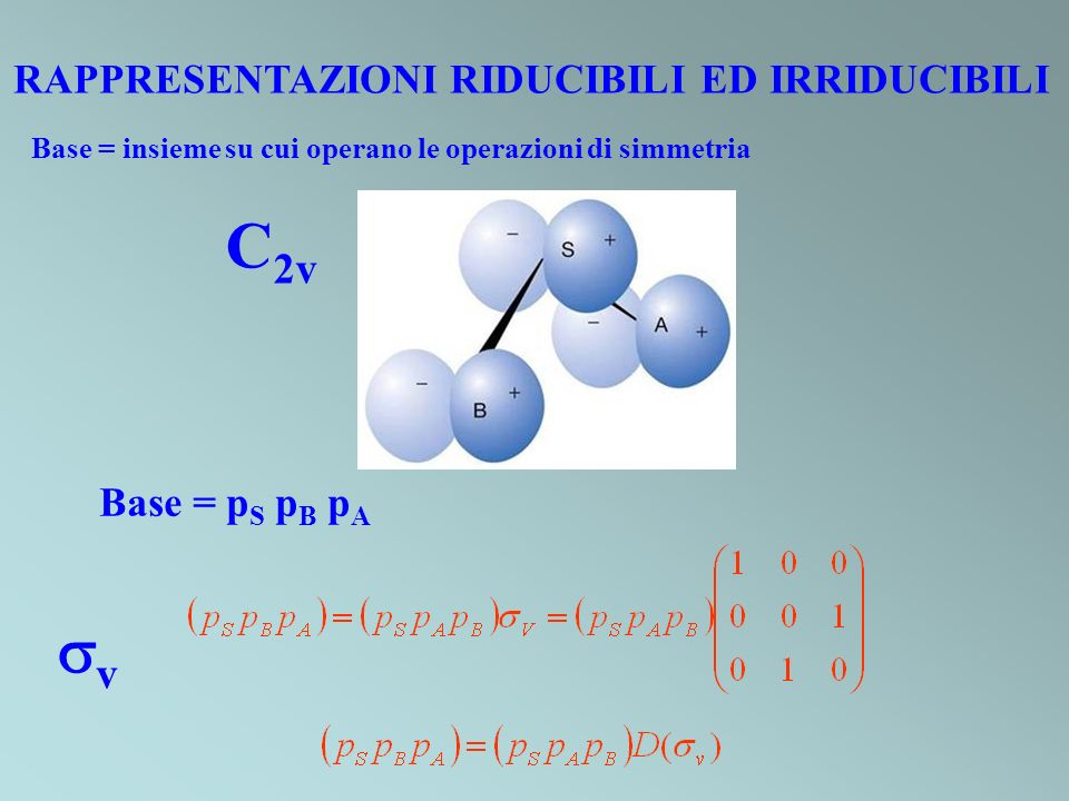 C2v v RAPPRESENTAZIONI RIDUCIBILI ED IRRIDUCIBILI Base = pS pB pA