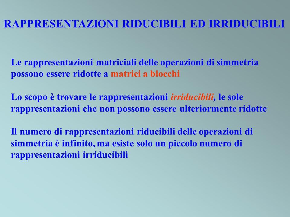 RAPPRESENTAZIONI RIDUCIBILI ED IRRIDUCIBILI
