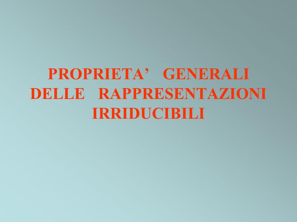 PROPRIETA' GENERALI DELLE RAPPRESENTAZIONI IRRIDUCIBILI