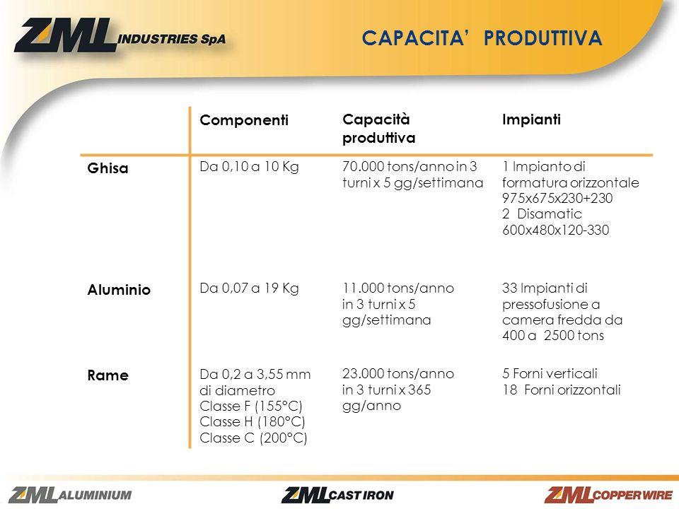CAPACITA' PRODUTTIVA Componenti Capacità produttiva Impianti Ghisa