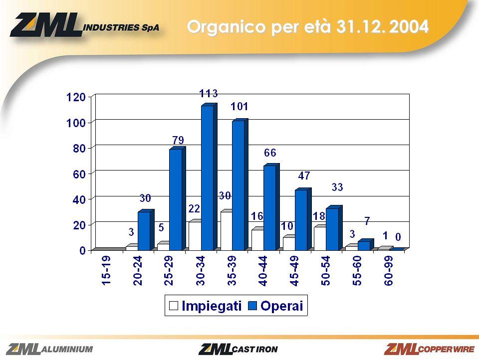 Organico per età 31.12. 2004