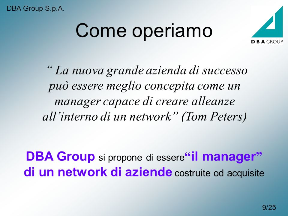 DBA Group S.p.A. Come operiamo.