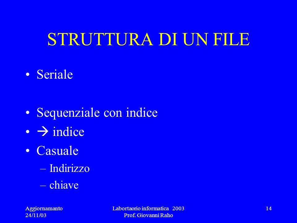 Labortaorio informatica 2003 Prof. Giovanni Raho