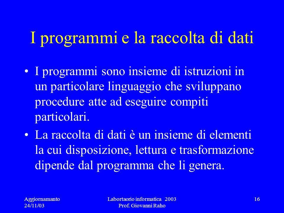 I programmi e la raccolta di dati