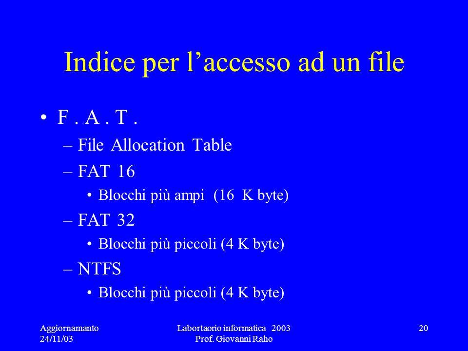 Indice per l'accesso ad un file