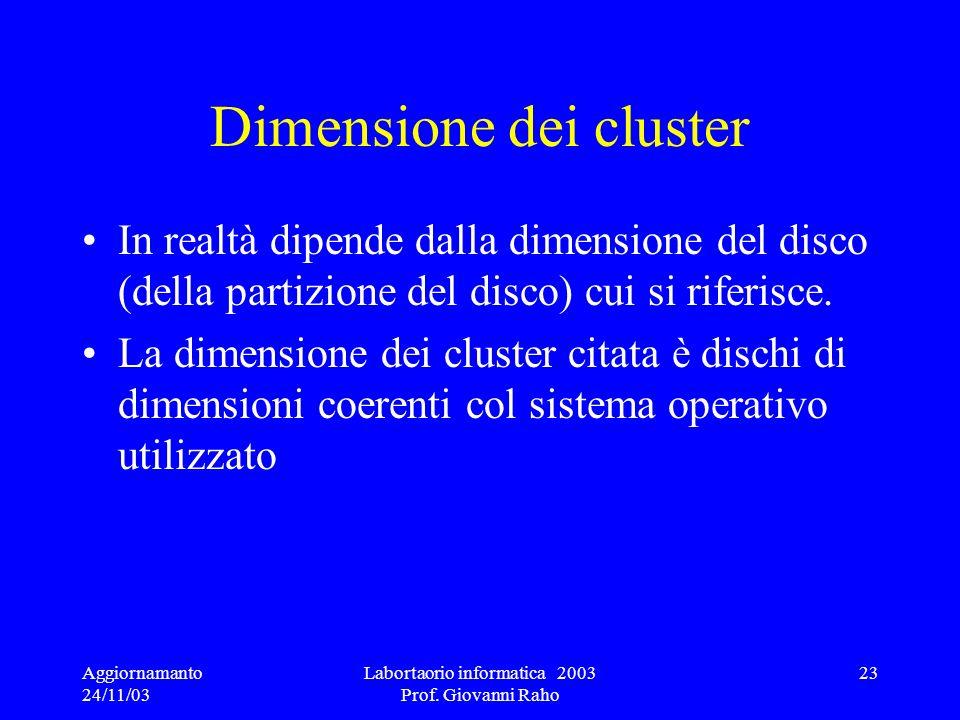 Dimensione dei cluster