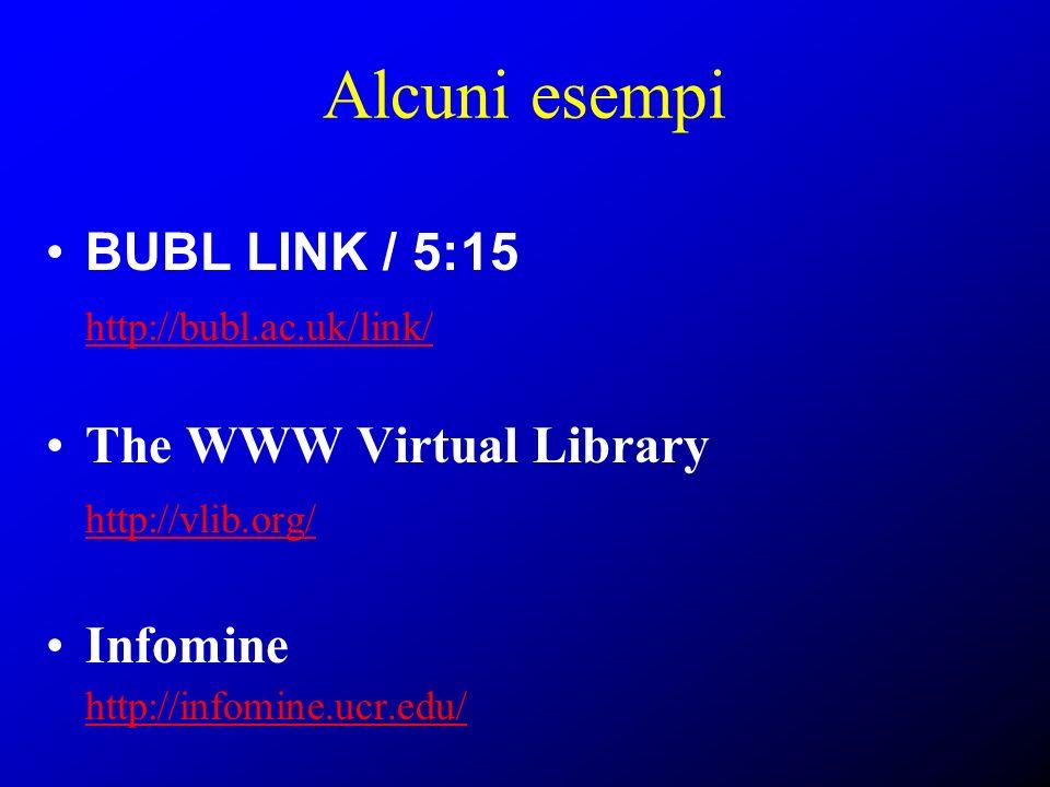 Alcuni esempi BUBL LINK / 5:15 http://bubl.ac.uk/link/