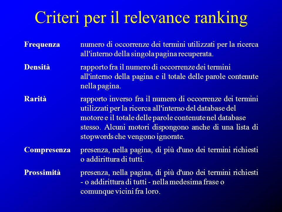 Criteri per il relevance ranking