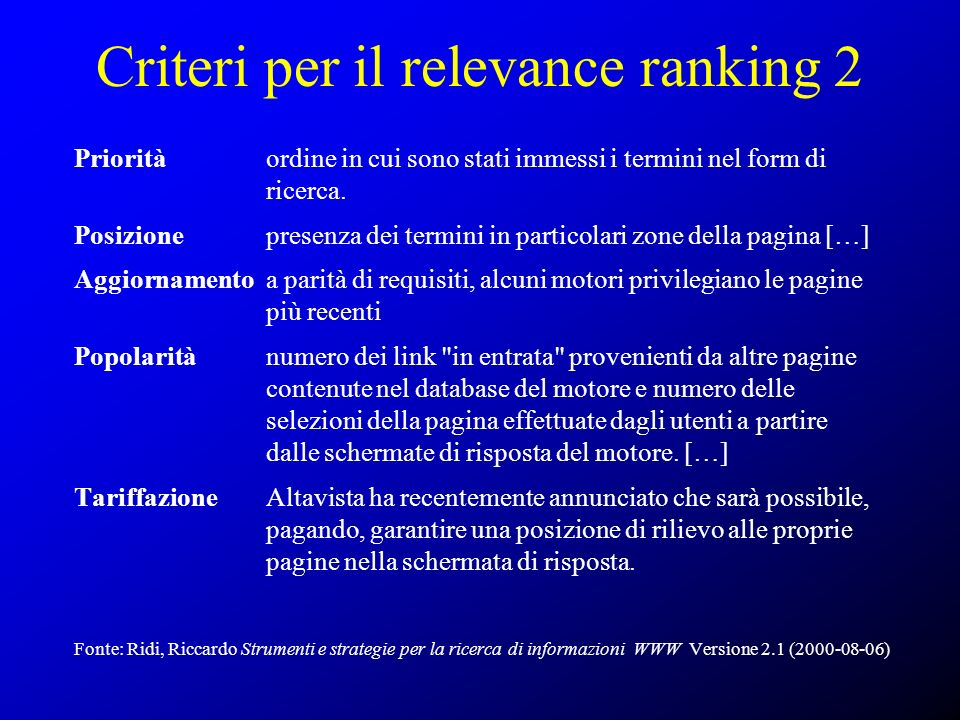 Criteri per il relevance ranking 2