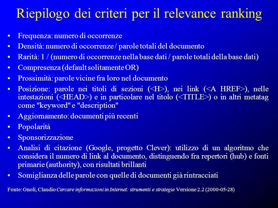 Riepilogo dei criteri per il relevance ranking