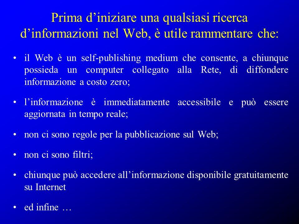 La ricerca dell informazione nel Web: Indici e motori