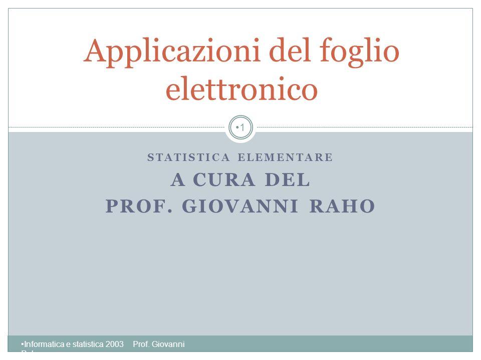 Applicazioni del foglio elettronico