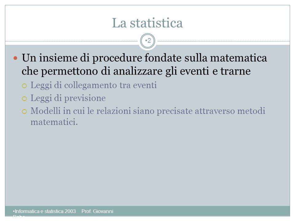 La statistica Un insieme di procedure fondate sulla matematica che permettono di analizzare gli eventi e trarne.