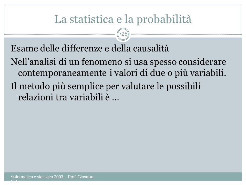 La statistica e la probabilità