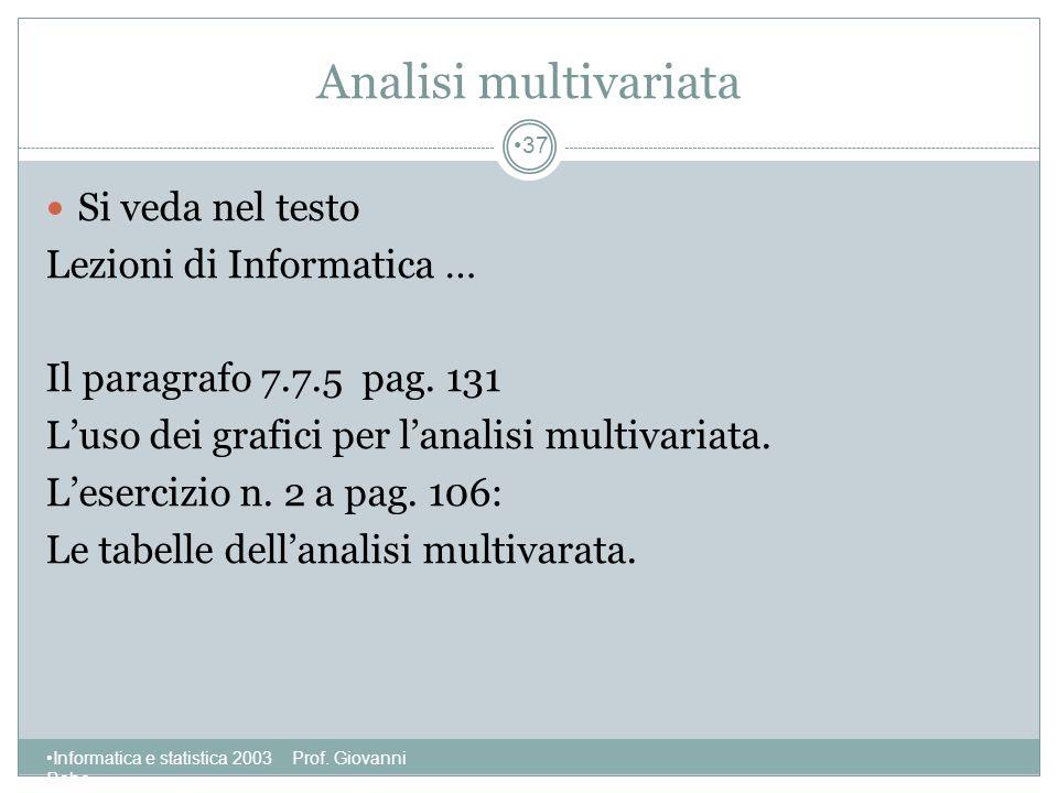 Analisi multivariata Si veda nel testo Lezioni di Informatica …