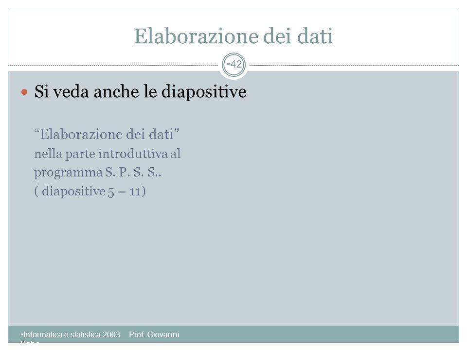 Elaborazione dei dati Si veda anche le diapositive