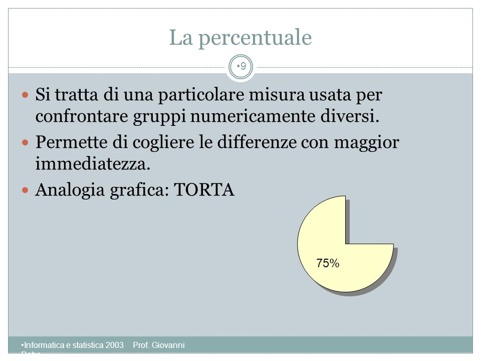 La percentuale Si tratta di una particolare misura usata per confrontare gruppi numericamente diversi.
