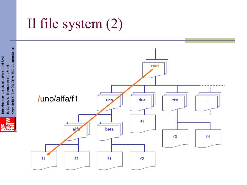 Il file system (2) /uno/alfa/f1 uno root due tre … alfa beta f1 f2 f3
