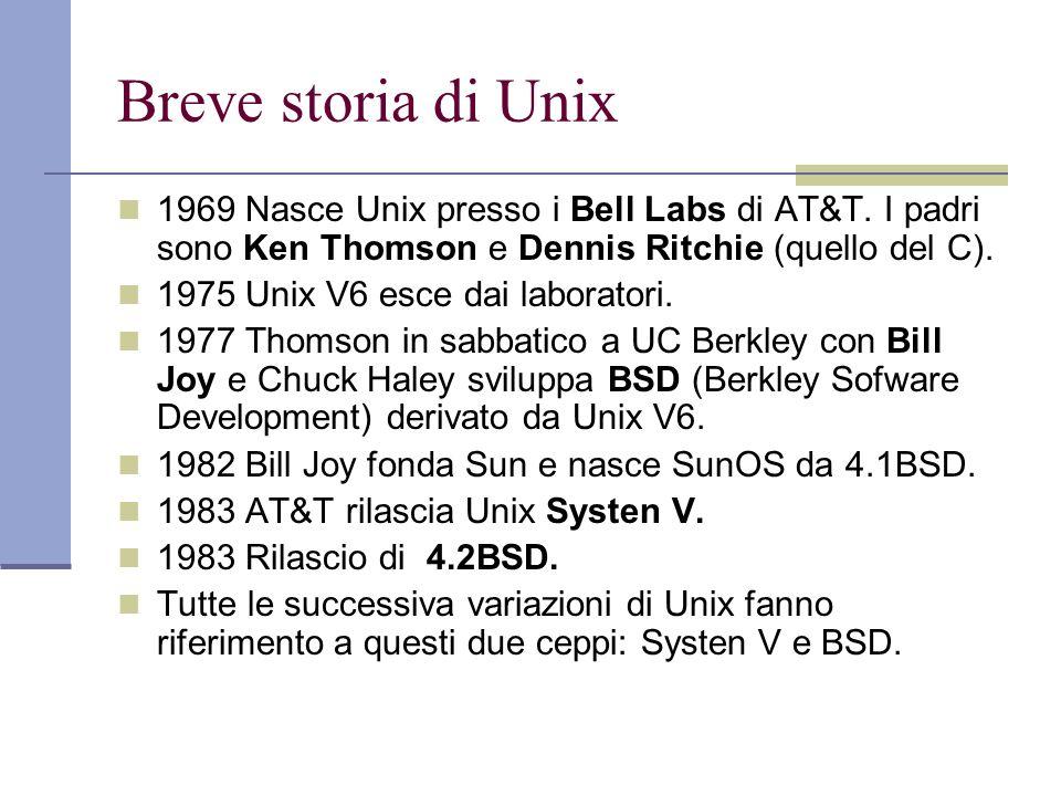 Breve storia di Unix 1969 Nasce Unix presso i Bell Labs di AT&T. I padri sono Ken Thomson e Dennis Ritchie (quello del C).