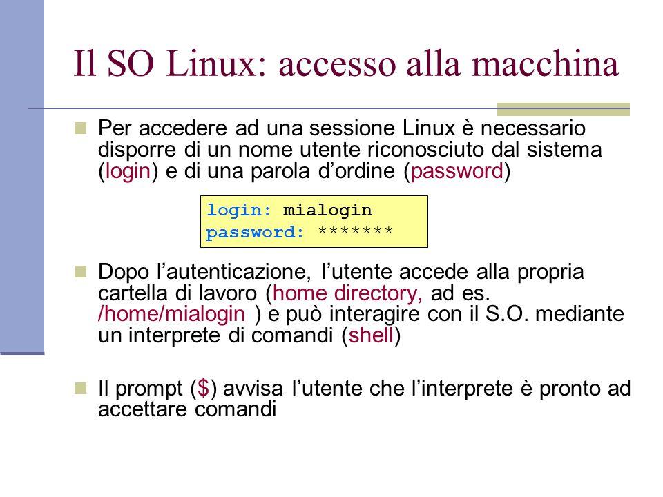 Il SO Linux: accesso alla macchina