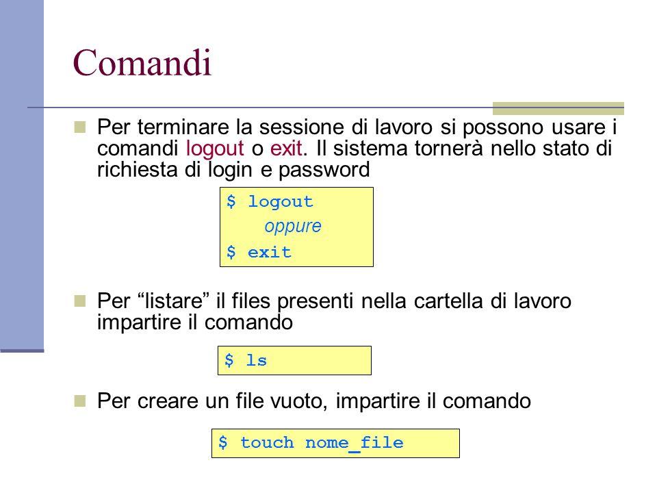 Comandi Per terminare la sessione di lavoro si possono usare i comandi logout o exit. Il sistema tornerà nello stato di richiesta di login e password.