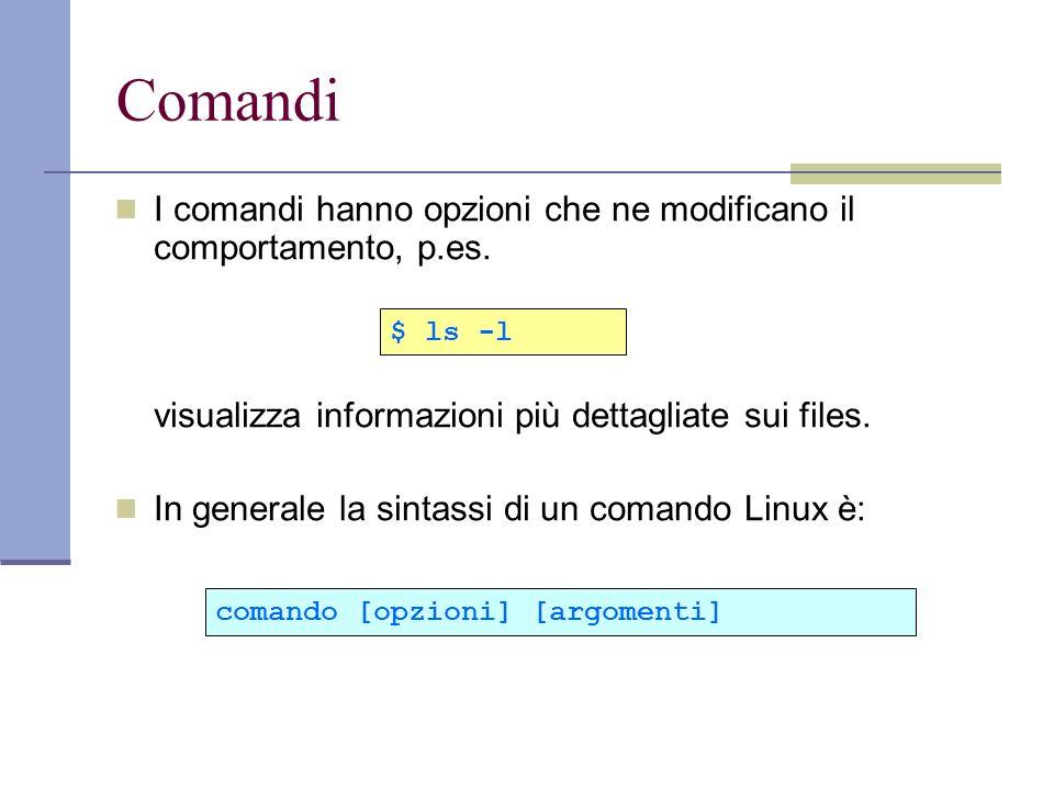 Comandi I comandi hanno opzioni che ne modificano il comportamento, p.es. visualizza informazioni più dettagliate sui files.