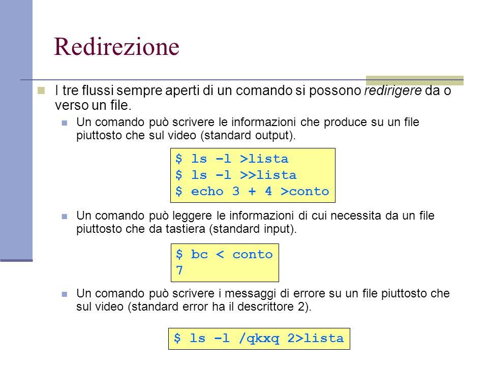 Redirezione I tre flussi sempre aperti di un comando si possono redirigere da o verso un file.