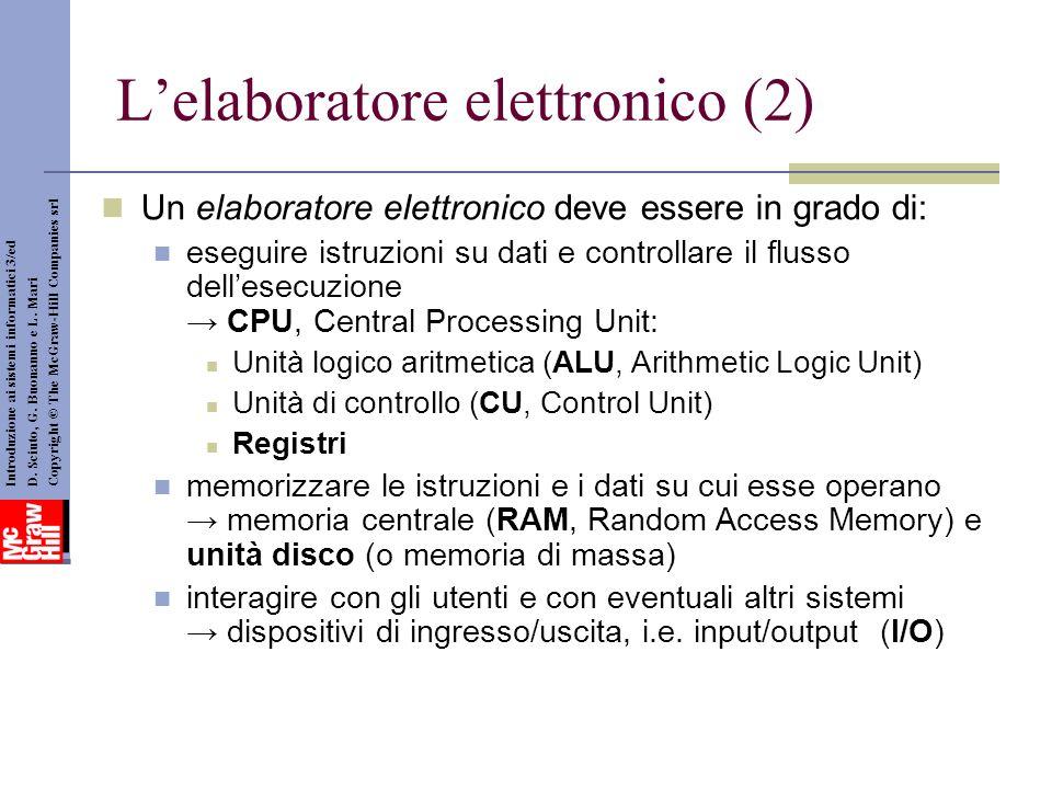 L'elaboratore elettronico (2)