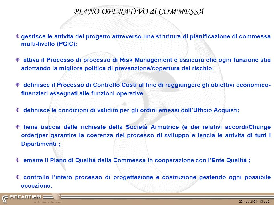 PIANO OPERATIVO di COMMESSA
