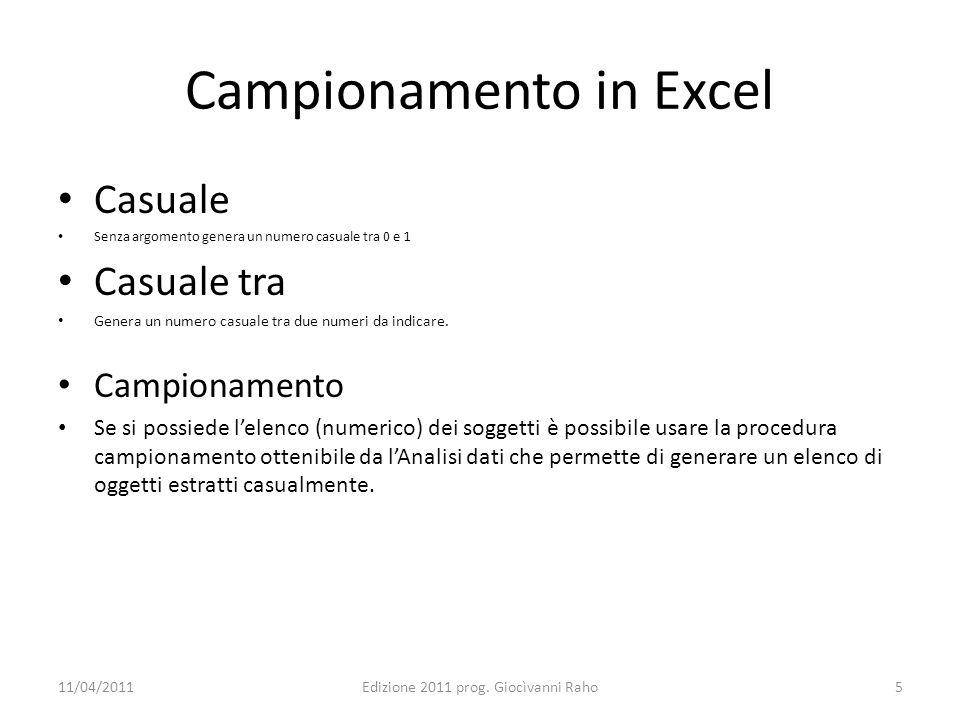 Campionamento in Excel