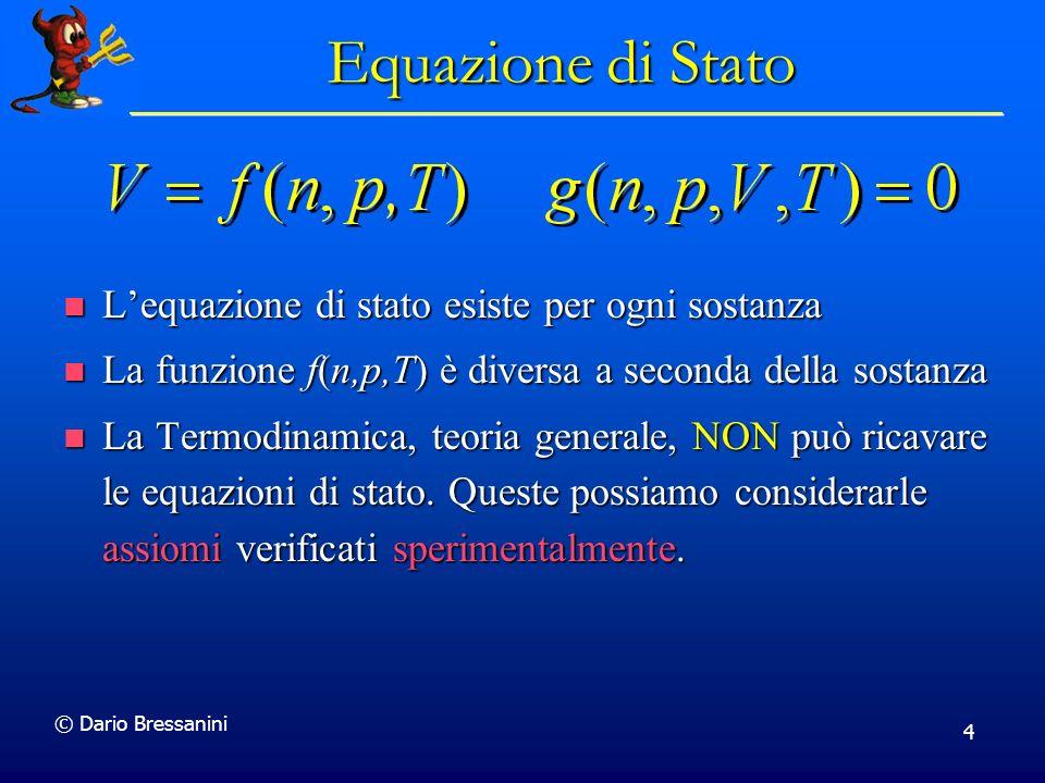 Equazione di Stato L'equazione di stato esiste per ogni sostanza