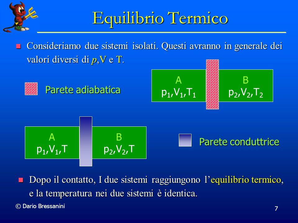 Equilibrio Termico Consideriamo due sistemi isolati. Questi avranno in generale dei valori diversi di p,V e T.