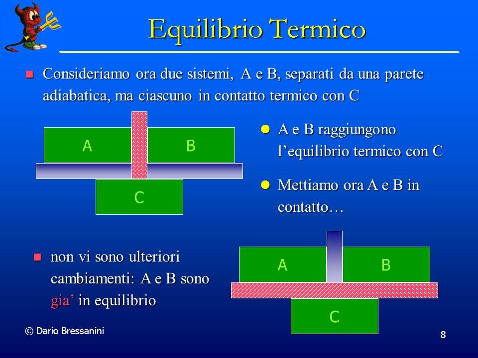 Equilibrio Termico Consideriamo ora due sistemi, A e B, separati da una parete adiabatica, ma ciascuno in contatto termico con C.