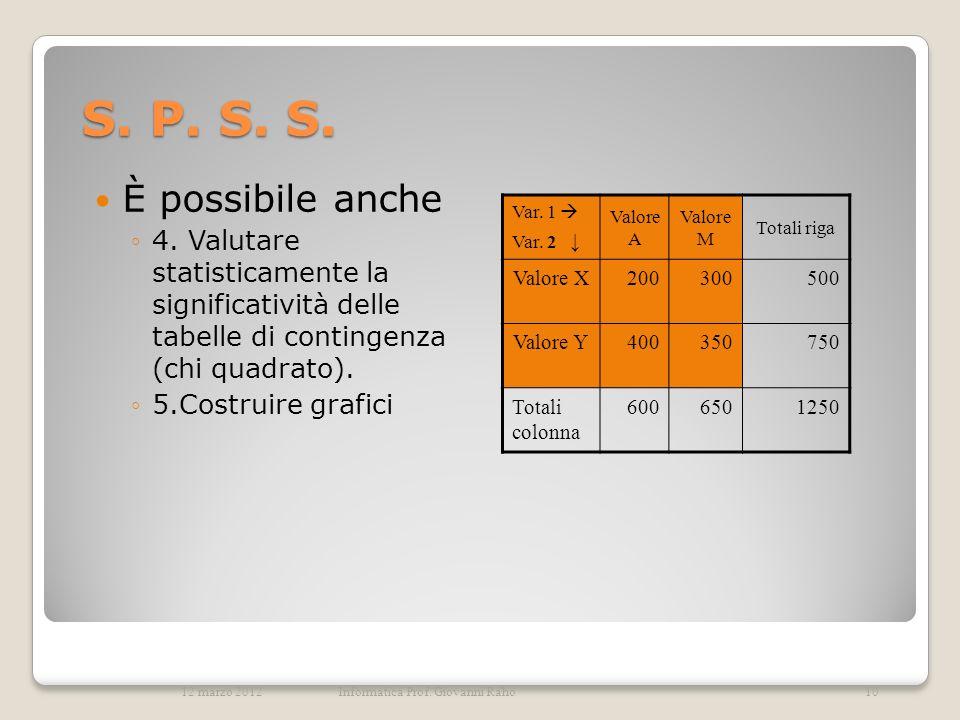 S. P. S. S. È possibile anche. 4. Valutare statisticamente la significatività delle tabelle di contingenza (chi quadrato).