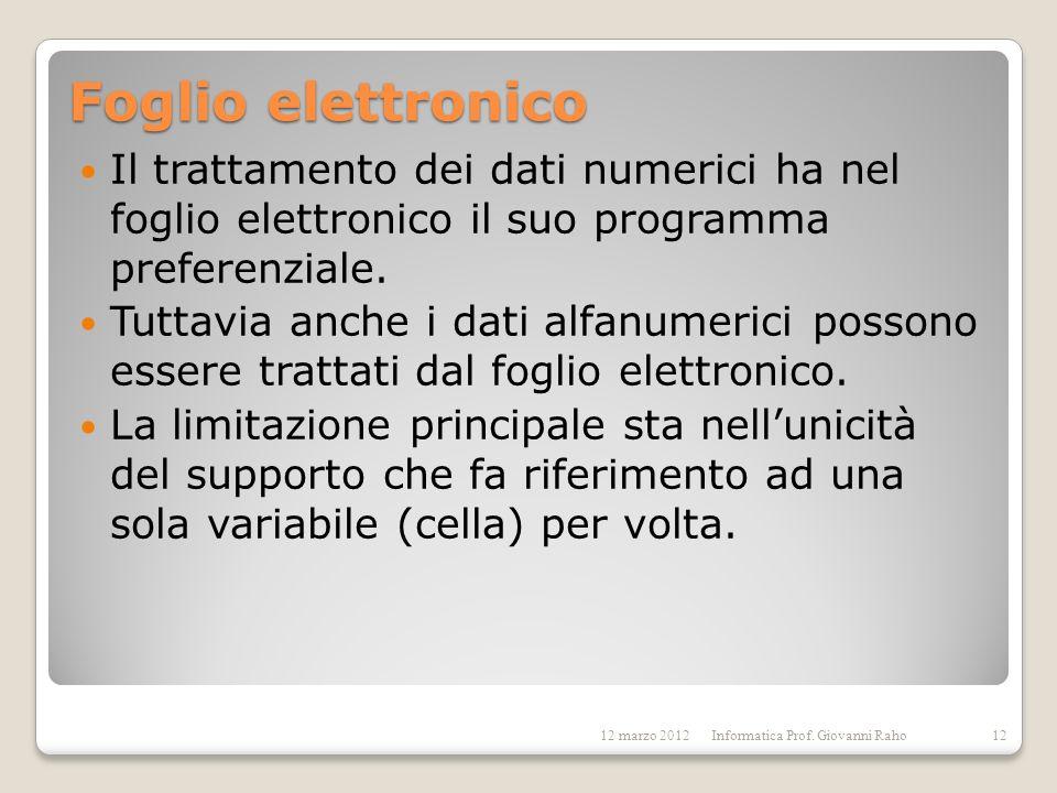 Foglio elettronico Il trattamento dei dati numerici ha nel foglio elettronico il suo programma preferenziale.