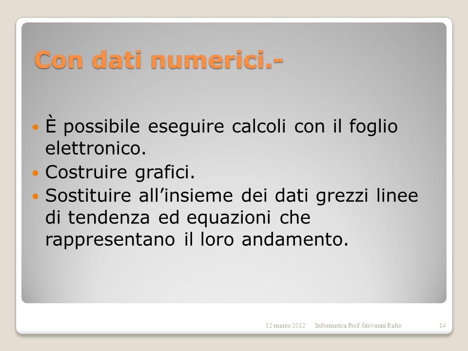 Con dati numerici.-È possibile eseguire calcoli con il foglio elettronico. Costruire grafici.