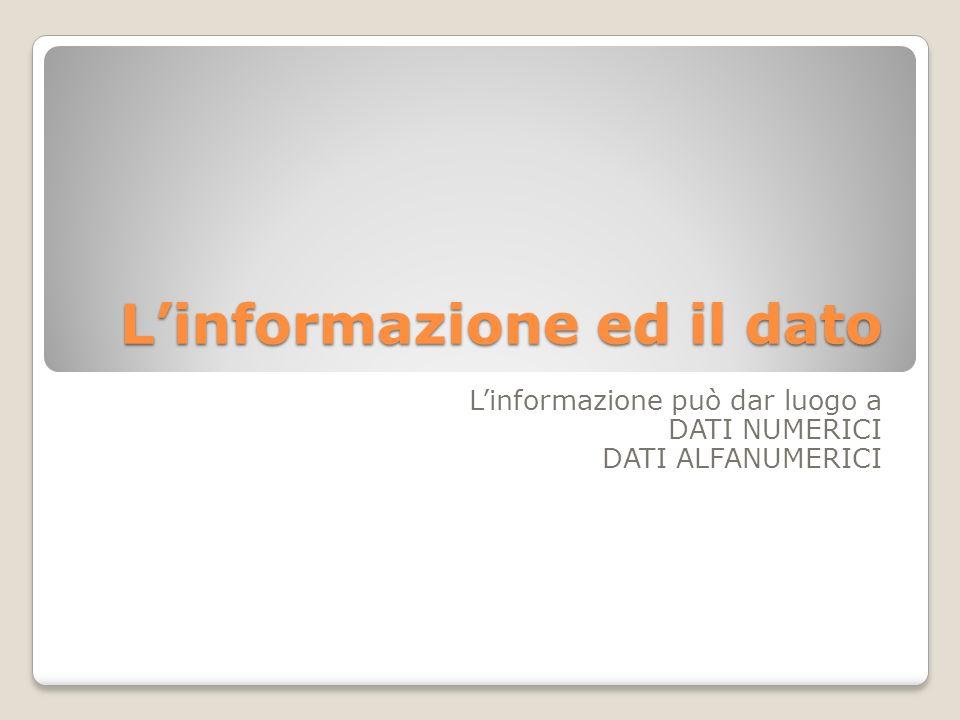 L'informazione ed il dato