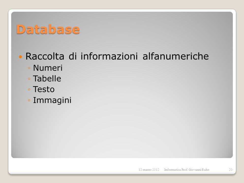 Database Raccolta di informazioni alfanumeriche Numeri Tabelle Testo