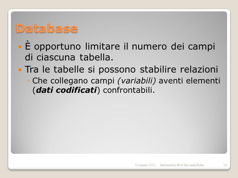Database È opportuno limitare il numero dei campi di ciascuna tabella.