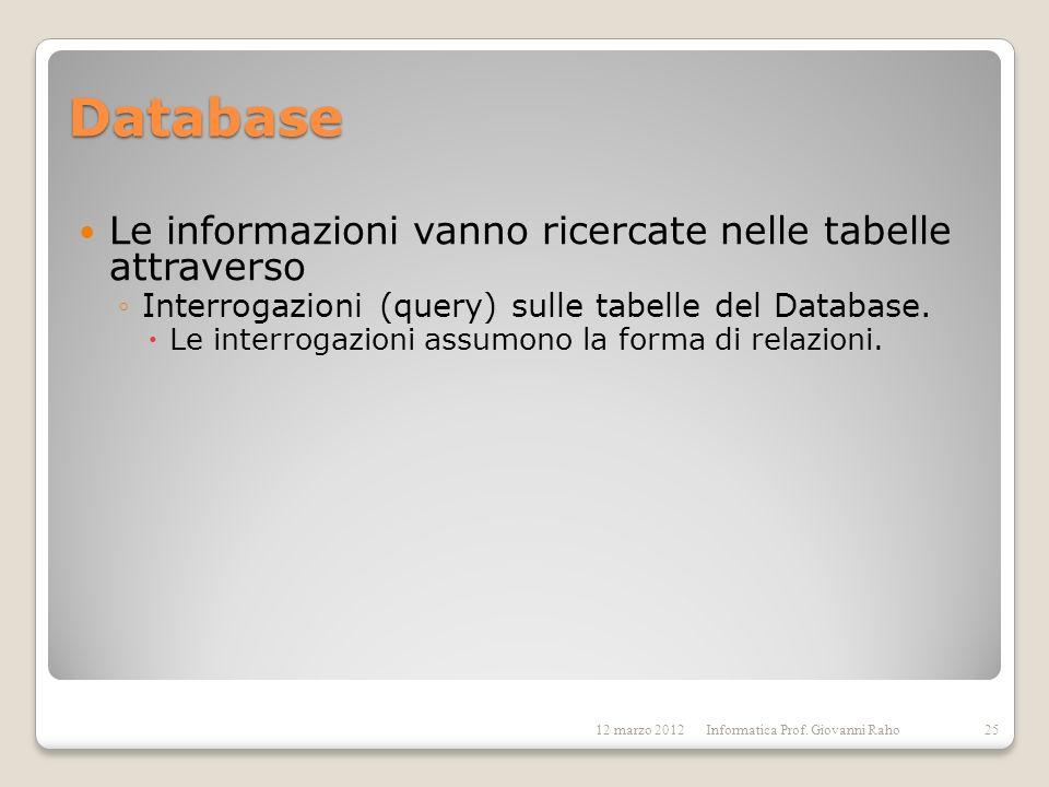 Database Le informazioni vanno ricercate nelle tabelle attraverso