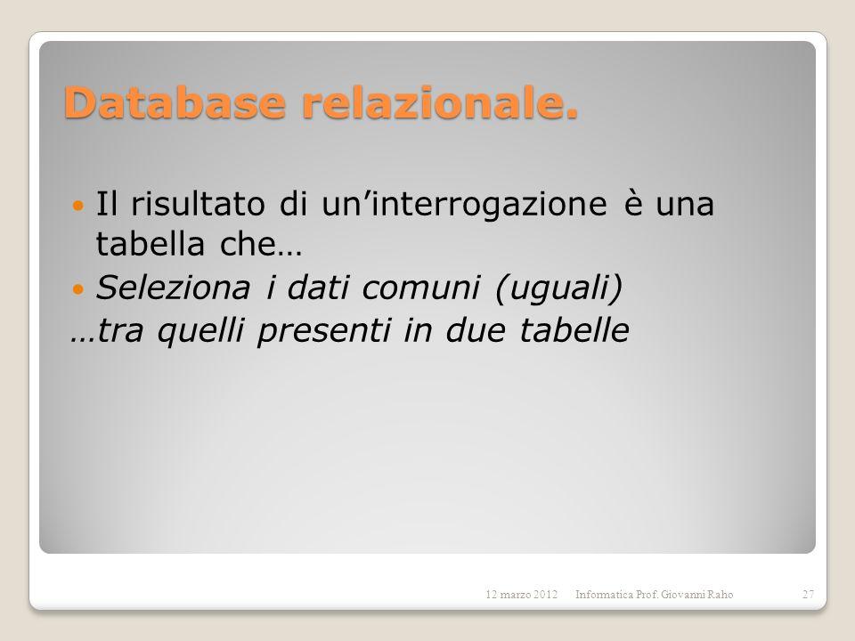 Database relazionale. Il risultato di un'interrogazione è una tabella che… Seleziona i dati comuni (uguali)
