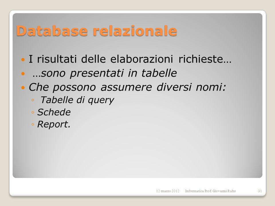 Database relazionale I risultati delle elaborazioni richieste…