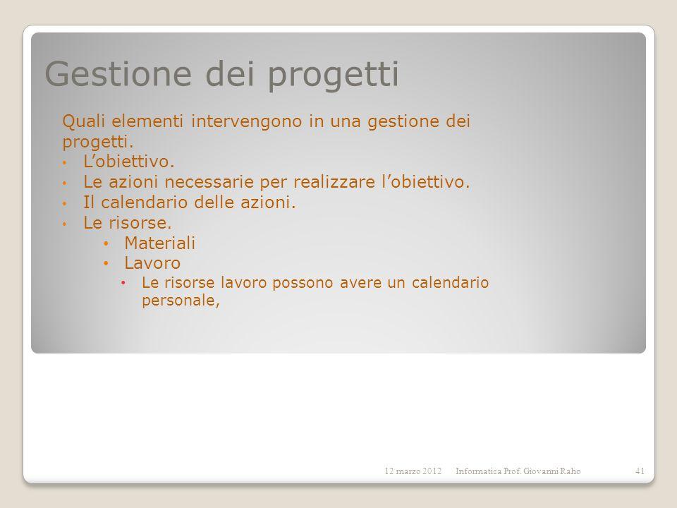 Gestione dei progettiQuali elementi intervengono in una gestione dei progetti. L'obiettivo. Le azioni necessarie per realizzare l'obiettivo.