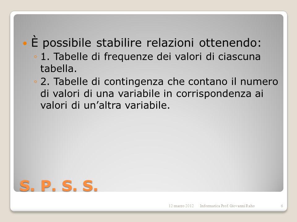 S. P. S. S. È possibile stabilire relazioni ottenendo: