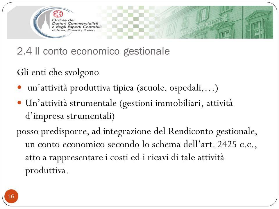2.4 Il conto economico gestionale