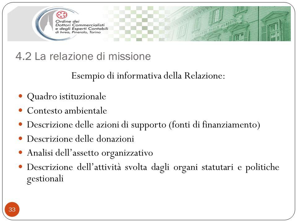 4.2 La relazione di missione